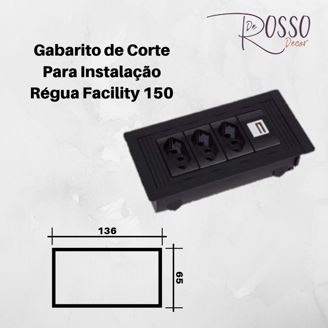 Régua Facility 150 em ABS para 4 Blocos - Preto