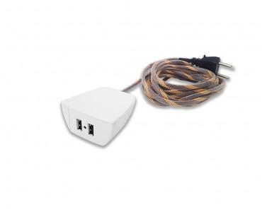 Sonic Tec Móvel 2 USB Cabo 1,7M Revestido - Branco