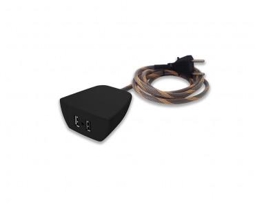Sonic Tec Móvel 2 USB Cabo 1,7M Revestido - Preto