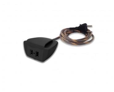 Sonic Tec Móvel C/Presilha 2 USB Cabo 1,7M Revestido - Preto