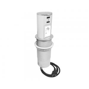 Torre de Tomada Mini Totem Automático 1 Tomada 10A + 2 USB - Branco e Cromado