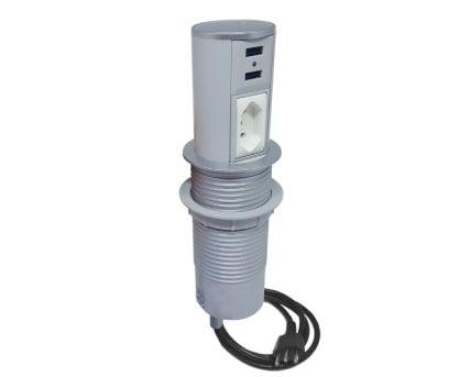 Torre de Tomada Mini Totem Automático 1 Tomada 10A + 2 USB - Prata