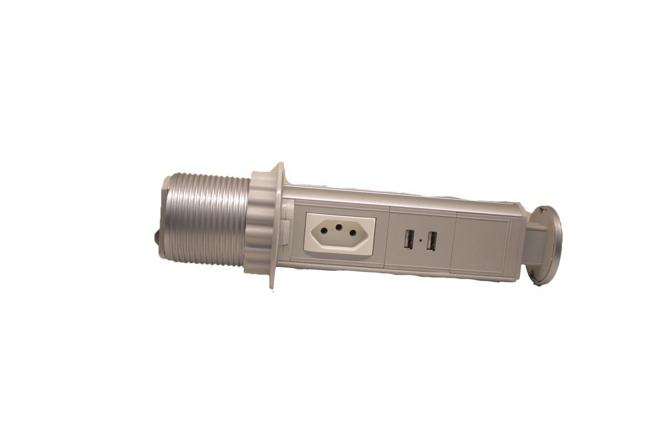 Torre de Tomada Mini Totem Manual 1 Tomada 10A + 2 USB - Prata