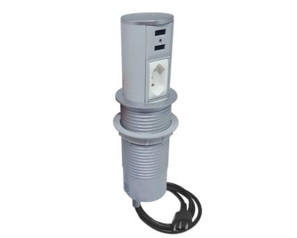 Torre Mini Totem Autom. 1 Tom 10A + 2 USB - Cinza