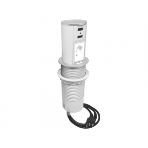 Torre Mini Totem Autom. 1 Tom 20A + 2 USB - Branco e Cromado