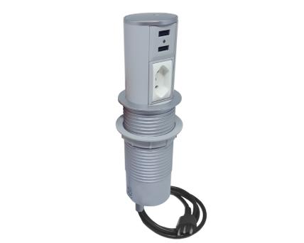 Torre Mini Totem Autom. 1 Tom 20A + 2 USB - Cinza