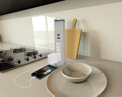 Torre Multiplug Retrátil 2 Tomadas 20A e 2 USB Embutir Cinza
