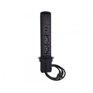 Torre Tomada Mini Totem Manual 2 Tomadas 10A + 2 USB - Preto