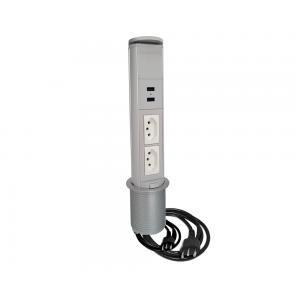 Torre Tomada Mini Totem Manual 2 Tomadas 20A + 2 USB - Cinza