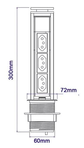 Torre Tomada Multiplug Retrátil - NACIONAL - 20A - Branco