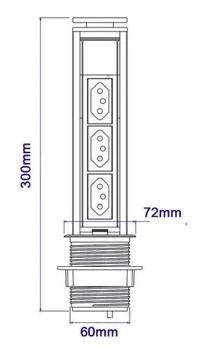 Torre Tomada Multiplug Retrátil - NACIONAL - 20A - Cinza