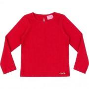 Blusa Infantil Feminina Malha Canelada Vermelha