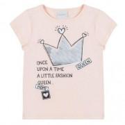 Blusa Infantil Feminina Rosa com Coroa de Paetês