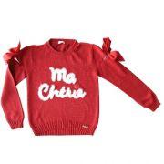 Blusa Infantil Feminina Tricô Vermelha Ma Cherie