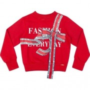 Blusa Moletom Infantil Feminina Vermelha Laço Fashion