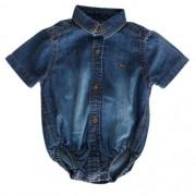 Body Camisa Jeans Bebê