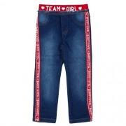 Calça Jeans Infantil Feminina com Faixa Vermelha de Logomarca