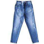 Calça Jeans Infantil Feminina Destroyed com Logo Bolso