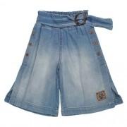 Calça Pantacourt Infantil Feminina Jeans Botões Laterais