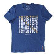 Camiseta Infantil Masculina Azul Caça Palavras