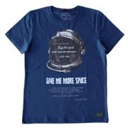 Camiseta Infantil Masculina Azul Capacete de Astronauta