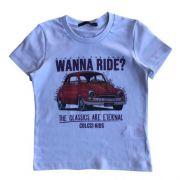 Camiseta Infantil Masculina Branca Fusca Wanna Ride