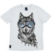 Camiseta Infantil Masculina Lobo com Óculos de Ski