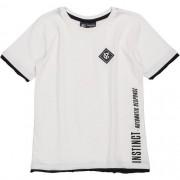Camiseta Infantil Masculina Branca com Detalhe Barra e Mangas Youccie