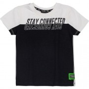Camiseta Infantil Masculina Preta Stay Connected