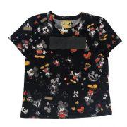 Camiseta Infantil Feminina Preta Mickey com Logo Emborrachada