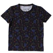Camiseta Infantil Masculina Preta Símbolos Coloridos