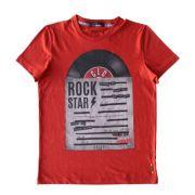 Camiseta Infantil Masculina Vermelha Disco Rock Star