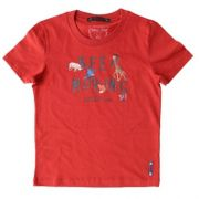 Camiseta Infantil Masculina Vermelha Safari