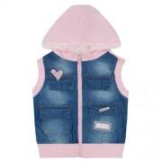Colete Infantil Feminino Jeans com Moletom Rosa e Capuz