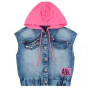 Colete Jeans Infantil Feminino com Capuz Removível