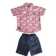 Conjunto Masculino Bebê Camisa Coqueiros e Bermuda Jeans