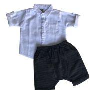 Conjunto Masculino Bebê Camisa em Linho e Bermuda Saruel