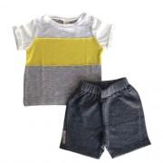 Conjunto Masculino Bebê Camiseta com Listra e Bermuda