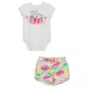 Conjunto Bebê Feminino Body Pompom e Shorts Frutinhas