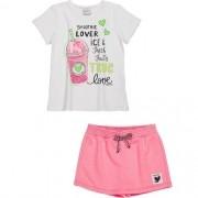 Conjunto Feminino Infantil Blusa com Shorts Saia Rosa