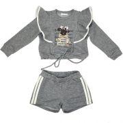 Conjunto Feminino Infantil Blusa Cachorrinha com Shorts