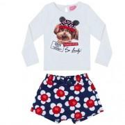 Conjunto Feminino Infantil Blusa com Cachorrinho e Shorts Saia Floral