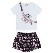 Conjunto Feminino Infantil Blusa Dálmata com Shorts Saia Lettering