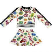 Conjunto Feminino Infantil Blusa e Saia com Balões Coloridos