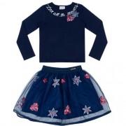 Conjunto Feminino Infantil Blusa Flores com Saia em Tule