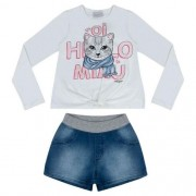 Conjunto Feminino Infantil Blusa Hello Miau com Shorts Jeans