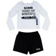 Conjunto Feminino Infantil Blusa Off White com Shorts Cristais