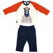 Conjunto Masculino Infantil BLusa Urso com Calça de Moletinho
