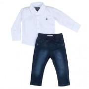 Conjunto Masculino  Infantil Camisa Branca com Calça Jeans