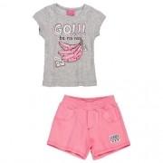 Conjunto Infantil Feminino Blusa Bananinhas com Shorts